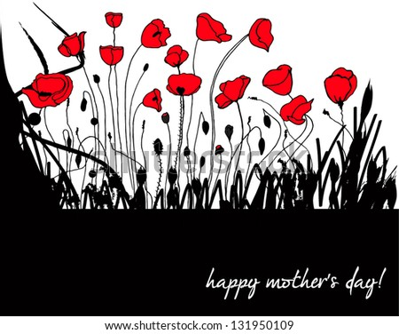 Vector illustration of beautiful hand drawn floral romantic poppies background - stock vector