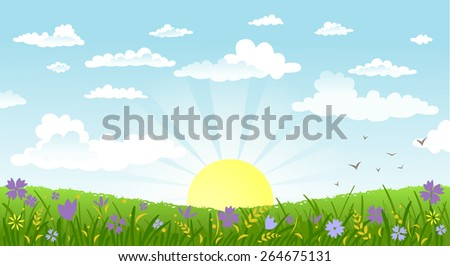 Vector illustration of beautiful landscape. Rural scene with green field and bright sun on a summer morning - stock vector