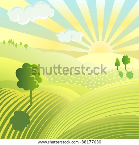 Vector illustration of beautiful landscape. Rural scene with green field and trees on sunny day - stock vector