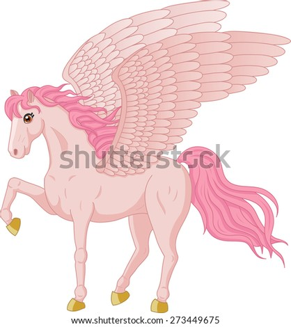 Vector illustration of beautiful Pegasus - stock vector
