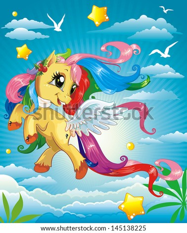 Vector Illustration of beautiful Pony on clouds - stock vector