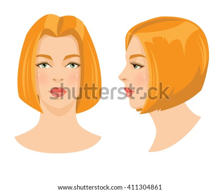 Vector illustration of beautiful redhead girl with bob hairstyle and green eyes isolated on white background. Face in front. Face in profile. Various turn head. - stock vector