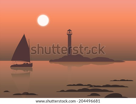 Vector illustration of beautiful seascape with lighthouse and sailboat - stock vector