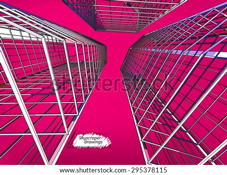 Vector illustration of beautiful skyscrapers. View from below. Abstract urban background for business brochure, leaflet, print and other modern and futuristic design. Magenta and greyish colors. - stock vector
