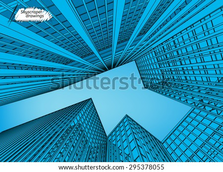 Vector illustration of beautiful skyscrapers. View from below. Useful abstract urban background for business brochure, leaflet, print and other modern and futuristic design. Blue evening colours. - stock vector