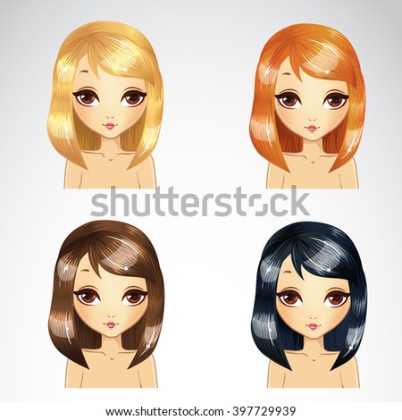 Vector illustration of beautiful straight short hair set in four colors - stock vector