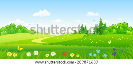 Vector illustration of beautiful summer forest fields - stock vector