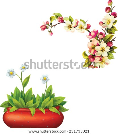 Vector illustration of beautiful violet flower in pot, Cherry blossom flowers with leaves. Tree branch isolated on white background - stock vector