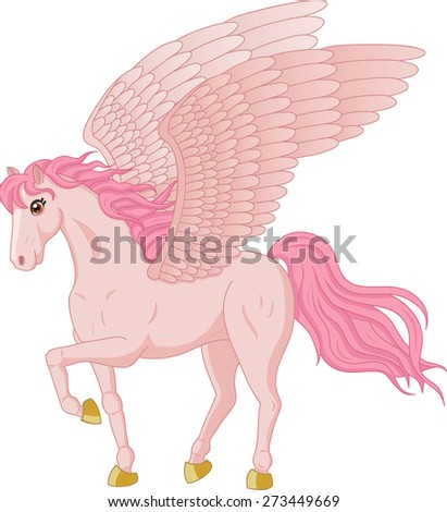 Vector illustration of beautiful walking Pegasus - stock vector
