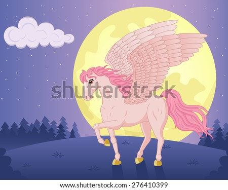Vector illustration of beautiful walking Pegasus and big moon - stock vector
