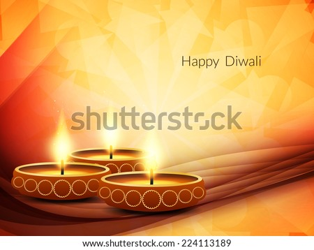 Vector illustration of beautiful wave style background design for Indian festival Diwali. - stock vector