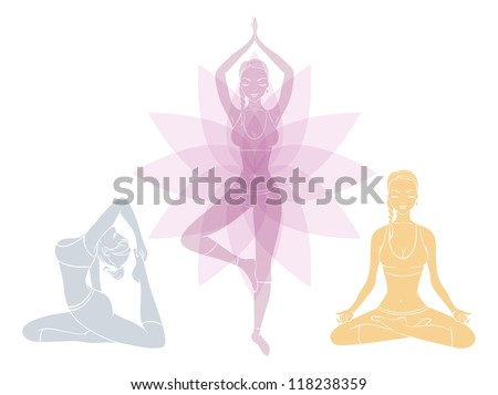 Vector illustration of Beautiful woman doing youga exercises - stock vector