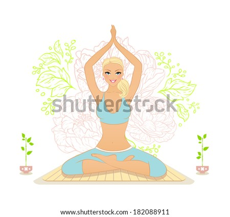 Vector illustration of Beautiful woman doing youga exercises