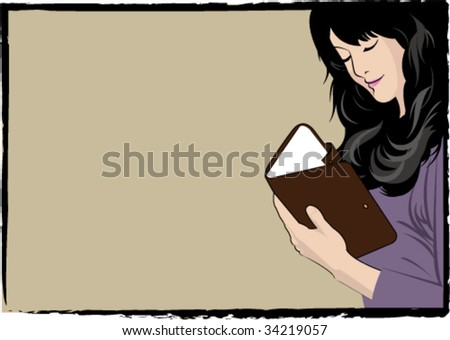 vector illustration of beautiful woman reading note book - stock vector