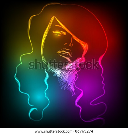 Vector illustration of beautiful woman's face made of colorful light