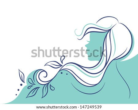 Vector illustration of Beautiful woman's profile doodle - stock vector