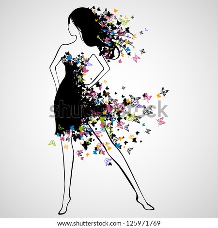 Vector Illustration of Beautiful Woman with Butterfly Dress - stock vector