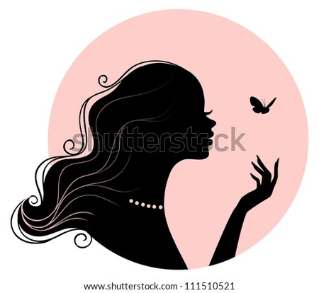 Vector illustration of Beauty woman with butterfly - stock vector