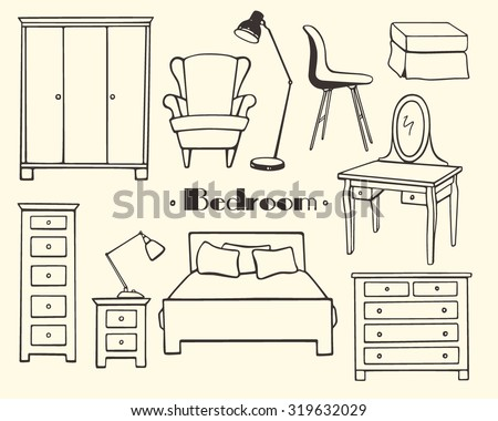 Vector illustration of bedroom furniture. Hand drawn furniture set made in linear style. Beautiful design elements, perfect for any business related to the furniture industry. - stock vector
