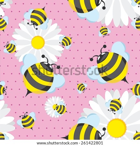 Vector illustration of bee seamless pattern - stock vector
