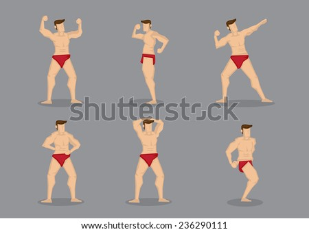 Vector illustration of beefcake wearing red underwear in various poses showing off muscular body.  - stock vector