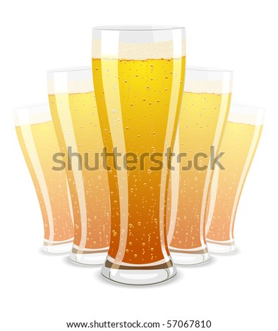 Vector illustration of beer glasses isolated on white background