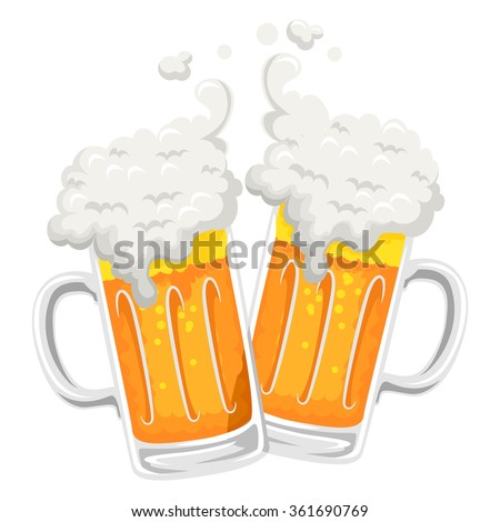 Vector Illustration of Beer Mug Toast - stock vector