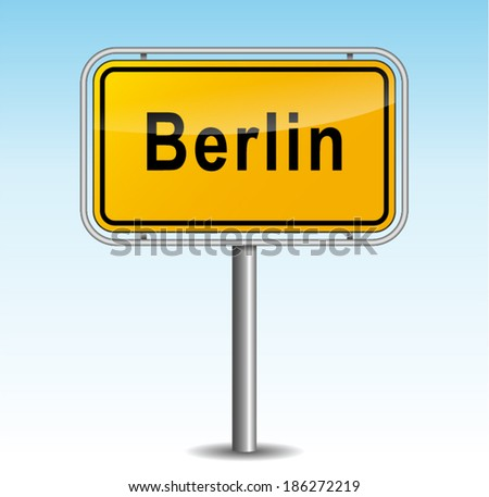 Vector illustration of berlin signpost on sky background - stock vector