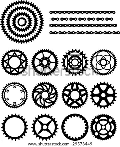 Vector illustration of bicycle gears and chain - stock vector