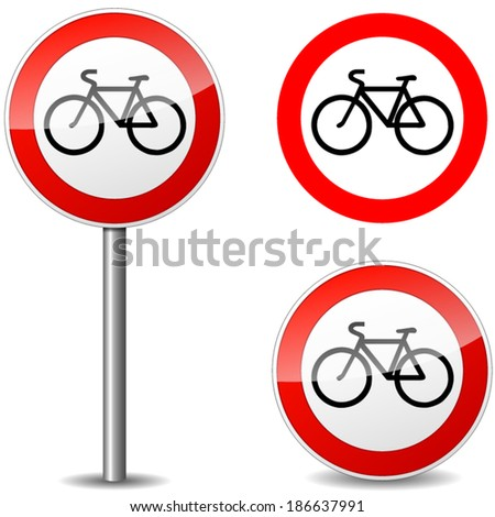 Vector illustration of bicycle sign on white background