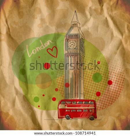 vector illustration of big ben. vintage style. eps10 - stock vector