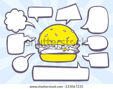 Vector illustration of big burger with speech comics bubbles on blue background. Line art design for web, site, advertising, banner, poster, board and print. - stock vector