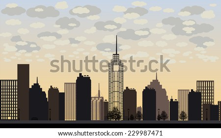 Vector illustration of big city and skyscrapers with clouds. Sunset - stock vector