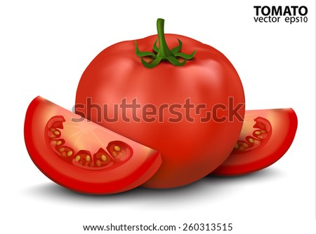 Vector illustration of big ripe red fresh Tomato and slices isolated on white background - stock vector