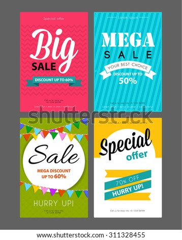 Vector illustration of Big sale flyers template - stock vector
