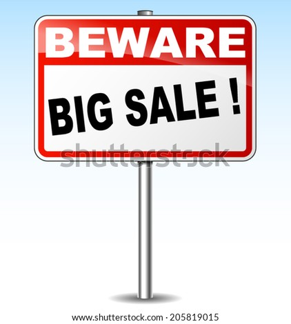 Vector illustration of big sale signpost on white background - stock vector