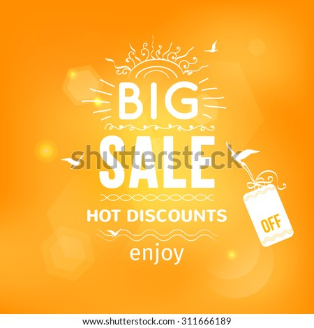 Vector illustration of Big sale typography on blurred background - with sample text, sun, birds