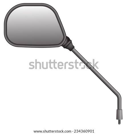 Vector illustration of bike or scooter side rear view mirror. Isolated on white background