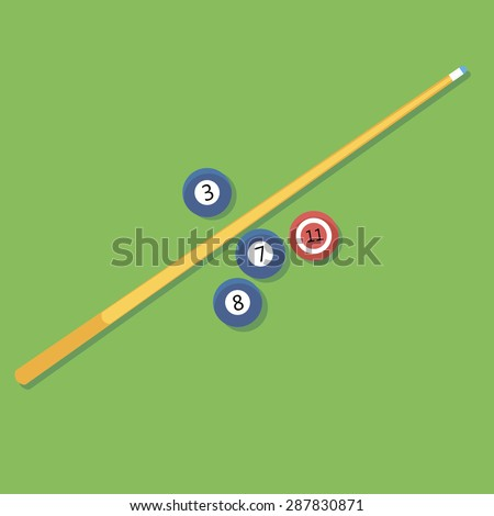 Vector illustration of billiards. Pill. cue and balls. - stock vector
