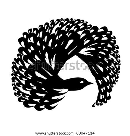 vector illustration of bird - stock vector