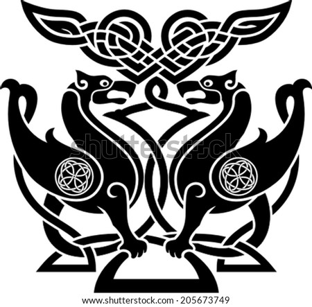 Vector illustration of  bird in celtic style with ornamental patterns - stock vector