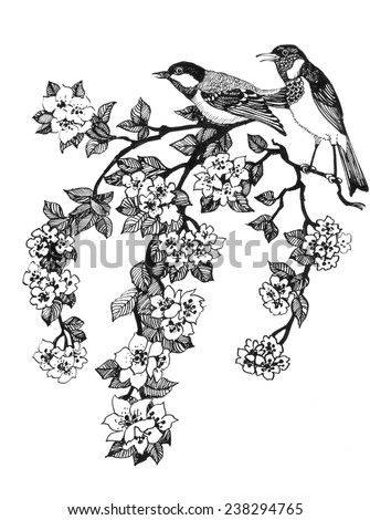 Vector illustration of birds on branch of cherry tree on white background - stock vector