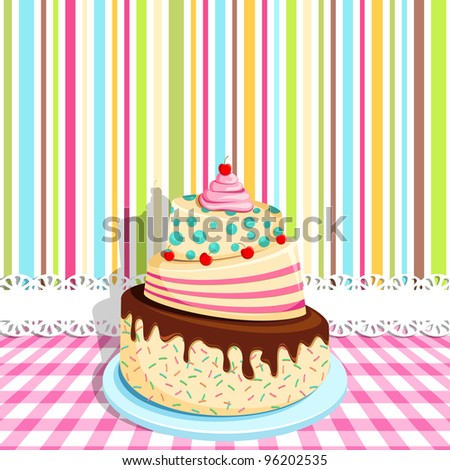vector illustration of birthday cake on colorful backdrop - stock vector