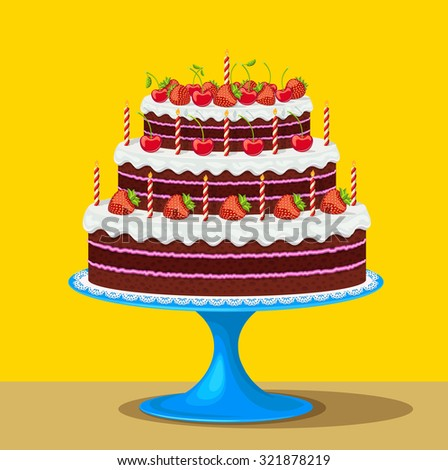 Vector illustration of Birthday cake with strawberries and cherries - stock vector