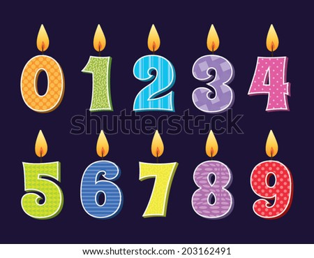 Vector illustration of birthday candles - stock vector