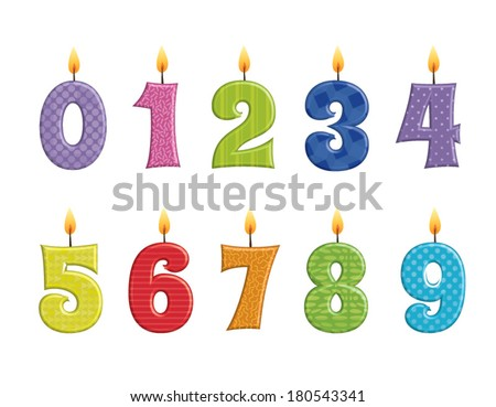 Vector illustration of birthday candles on a white background - stock vector