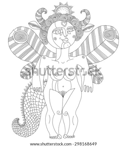 Vector illustration of bizarre creature, nude woman with wings, animal side of human being. Goddess of sun conceptual hand drawn allegory image.  - stock vector