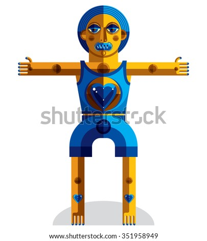 Vector illustration of bizarre modernistic avatar, cubism theme picture. Colorful drawing of spiritual totem, fantastic shaman isolated on white. - stock vector