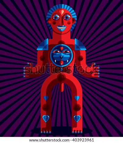 Vector illustration of bizarre modernistic avatar, cubism theme picture. Colorful drawing of spiritual totem, fantastic shaman isolated on art background. - stock vector