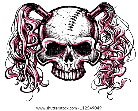 vector illustration of black and pink skull with pig tails and stitched forehead. Designed for use as a roller derby mascot. - stock vector